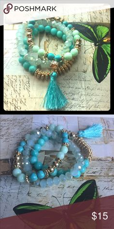 Turquoise beaded tassel bracelets  3 turquoise beaded tassels stretch bracelets! Great worn together or alone or even layered with other bracelets and bangles! The last two picture are some ideas on how to stack! Listed under Anthropologie for exposure. Bought this at a cute boutique in Ca. Anthropologie Jewelry Bracelets
