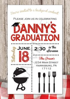 Graduation backyard barbecue bbq party cookout invitation graduation invitation printable for guys black by sarconedesigns filmwisefo