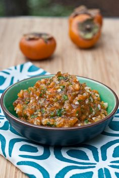 Persimmon Salsa - Summer might over, but salsa season never is! This persimmon salsa is a delicious seasonal replacement for traditional salsa. Fruit Recipes, Fall Recipes, Mexican Food Recipes, Cooking Recipes, Healthy Recipes, Ethnic Recipes, Tapenade, Persimmon Recipes, Salsa Picante