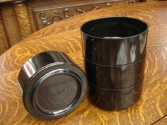 RARE Heller Massimo Vignelli BLACK Set of 4 Bowls Stacking Plastic Mid Century