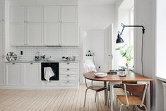 kitchen: gorgeous scandinavian styling > white + timber