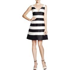 Adrianna Papell Womens Petites Striped A-Line Cocktail Dress
