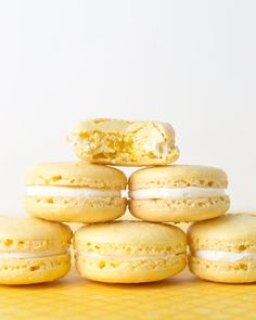 I am one of those people who actually prefers lemon or citrus flavors over chocolate. Not having the ingredients to make a lemon tart like intended, I gave into the macaron madness. This batch turn… Lemon Macaron Recipe, Lemon Macarons, Coconut Macaroons, Lemon Cupcakes, Meyer Lemon Recipes, Lemon Desserts, French Macaroons, Lemon Filling, Chocolate Recipes