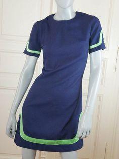 French Vintage Mini Dress, Navy Blue Apple Green Short Dress, Retro Nautical-Look Dress, European Dark Blue Summer Dress: Size 6 US, 10 UK by YouLookAmazing on Etsy