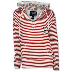 Red Sox Ladies Striped Terry Hood - Red
