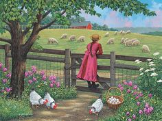 Wool Gathering By John Sloane Landscape Art, Landscape Paintings, Farm Paintings, Arte Country, Farm Art, Anime Art Girl, Beautiful Paintings, Cartoon Art, Art Pictures