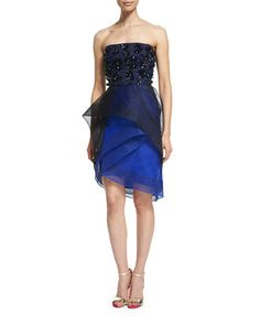 W0AFK Monique Lhuillier Strapless Tiered Cocktail Dress with Beading, Noir/Cobalt