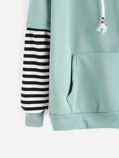 Pale Green Sleeve Striped Drawstring Hooded Sweatshirt With PocketFor Women-romwe