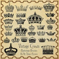 Vintage Crown Brushes by AllThingsPrecious on DeviantArt Free Photoshop, Photoshop Brushes, Traditional Tattoo Crown, Tiara Tattoo, Royal Beauty, Vintage Butterfly, Mini Tattoos, Make A Donation, Collage Sheet
