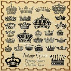 Vintage Crown Brushes by AllThingsPrecious.deviantart.com on @DeviantArt