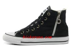 aeca4d45df4d30 2013 Converse Winter Chuck Taylor All Star Soft Nap Inside Zipper High Tops  Black Canvas Sneakers