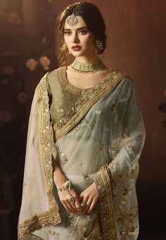 Off White Net Festival Wear Saree 154280 Indian Look, Dress Indian Style, Indian Dresses, Indian Bridal Outfits, Indian Designer Outfits, Bridal Dresses, Bridal Lehenga Collection, Bridal Photoshoot, Beautiful Saree