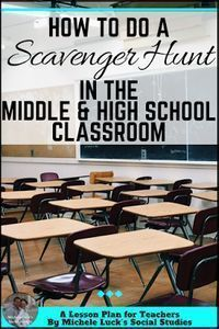 Great how-to tips and ideas for teachers doing scavenger hunt activities in the middle or high school classroom. Fun for students and filled with content for learning! Check out how easy it is to do! Classroom Games High School, Classroom Scavenger Hunt, High School Activities, Social Studies Classroom, History Classroom, Middle School Science, High School Students, Classroom Fun, Teaching History