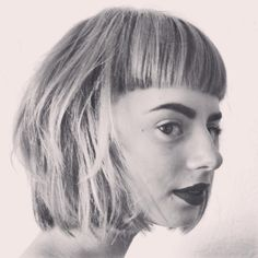 Bauhaus inspired fringe with blunt bob. Model Abby Palijeg. Hair by Brooke Bowman at Lucid Salon in Lebanon, Ohio.