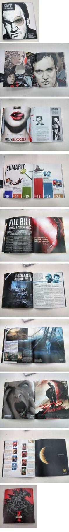 Extracto del diseño de una revista de cine llamada Mate Back.
