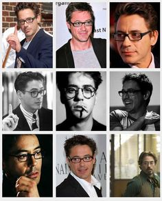 robert downey jr's many faces...all lookin good thanks to a great pair of reading glasses