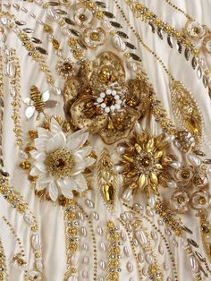 Intricate Beading Detail ~ Gold and White