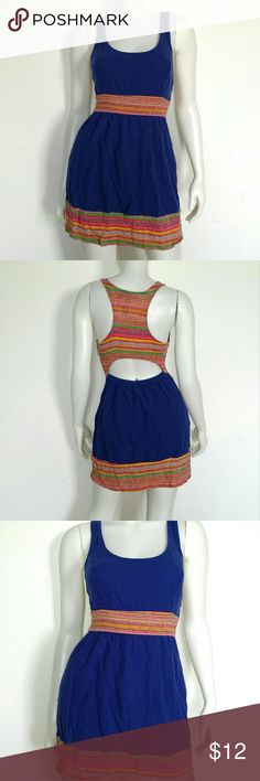 Colorful Mini Racerback Open-Back Linen Dress The tag is faded, can't read it, but brand is Staring at the Stars, linen blend, open back, hidden side zipper. Excellent worn condition, wish this fit me! I just don't fill it out. Would best fit a 2-4, the last picture is a similar dress (zipper is not on back) on a model. Urban Outfitters Dresses Mini