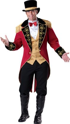 InCharacter Costumes Men's Ringmaster Costume, Red Gold/Black, X-Large