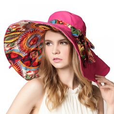 AETRENDS  2017 Fashion Design Flower Foldable Brimmed Sun Hat Summer Hats  for Women UV Protection - TakoFashion - Women s Clothing   Fashion online  shop cfba89c97be6