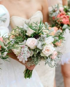 The Bouquets. Jaime carried blush peonies, fresh herbs, parrot tulips, sweetpeas, and baby bud roses. The bridesmaids' bundles of coral peonies, sage, and orange and white baby bud roses recalled the colors from the invitation.