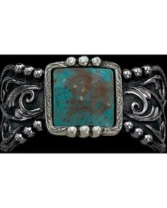 Blue Earth and Filigree Cuff Bracelet (BC1228)