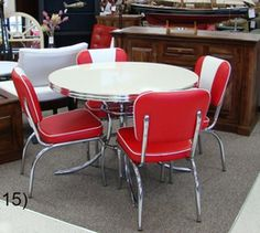 COOL Retro Dinettes | 1950's Style | Canadian Made Chrome Sets Retro Table And Chairs, Retro Kitchen Tables, Retro Dining Rooms, Retro Dining Chairs, Vintage Kitchen, Dining Tables, Retro Kitchens, High Chairs, Eames Chairs