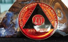 Red Blacktri Plate Alcoholics Anonymous 16 Year Medallion Coin Chip Token | eBay