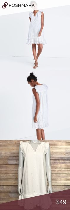 {madewell} white eyelet garden dress Cotton shift dress with flutter sleeves. Embroidered style scalloped hem. Brand new with tags! Stylish, comfortable dress for many occasions. Madewell Dresses Mini