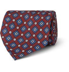 RubinacciMedallion-Print Woven Silk Tie