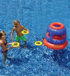 Awesome Slot Slam frisbee game for the pool we found at Hearthsong. For kids who have outgrown Marco Polo.