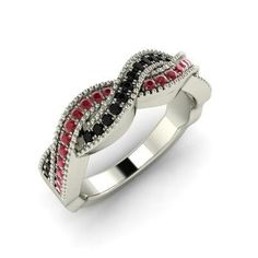Round Black Diamond Ring in 14k White Gold with Ruby