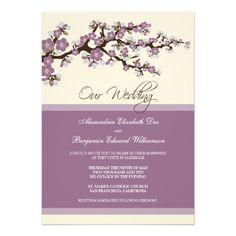 Cherry Blossom Wedding Invitation (purple)