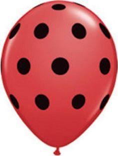 "12 Ladybug Print 11"" Latex Balloons Qualatex Black & Red Polka Dot Party Qualatex"