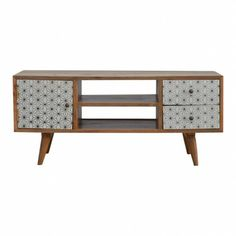 Media Unit With 2 Screen Painted Drawers & 1 Door Wooden Living Room Furniture, Painting Wooden Furniture, Rustic Furniture, Asian Furniture, Furniture Design, Funky Furniture, Tv Stand Unit, Wooden Tv Stands, Painted Drawers