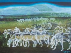 """Rarely seen"" An invisible herd of mist horses... Acrylic 60 x 80 cm. Gabriela Boiero Sutter •"