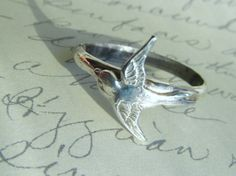 Sterling Silver Swallow Bird Ring-Romantic, Tattoo, Steampunk Free Shipping Worldwide. $45.00, via Etsy.