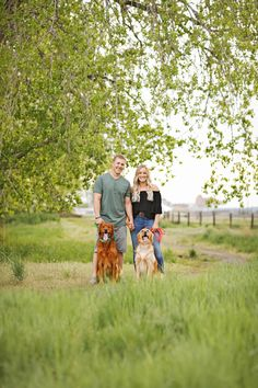 Spring Engagement Session - Summer Engagement Session - Fiance - Engaged - Trees - Green Grass - Dogs - Golden Retrievers - Green Shirt - Khaki Shorts - Black Shirt - Off-Shoulder Top - Bardot Top - Jeans - Montana Wedding Photographer - Sara Nagel Photography Engagement Photography, Engagement Session, Engagement Photos, Dogs Golden Retriever, Golden Retrievers, Montana Wedding, Bardot Top, How To Pose, Khaki Shorts