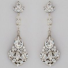 Discover Erin Cole Bridal Jewelry & Wedding Chandelier Earrings at Perfect Details.  Stunning long crystal bridal chandelier earrings for weddings & black tie affairs.