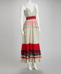 Take a look at this Red & Brown Surplice Maxi Dress by Ash & Sara on #zulily today! $34.99, regular 89.00