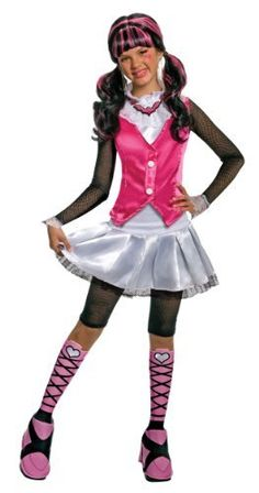 "Monster High Deluxe Draculaura Costume Rubie's Costume Co. $12.95. Lace at the collar and cuffs. Child's size Large fits most 8 to 10 year old olds, 56"" to 60"" tall. Have a party, trick-or-treat or just dress up for play time. Since 1950 Rubie's Costume Company has been making dress-up fun with costumes and accessories for the entire family"