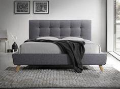 Łóżko tapicerowane SEVILLA w obiciu tkanina w kolorze szarym. Upholstered Beds, How To Make Bed, Bed Furniture, Bed Frame, Mattress, Master Bedroom, Ottoman, Couch, Chair