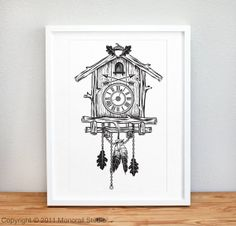 Cuckoo Clock Screenprint 12 x 19 in Choose your color