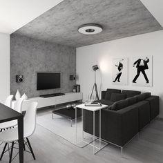 Bílý interiér s šedou a pohledovým betonem - Album uživatele moskordesign | Modrastrecha.cz