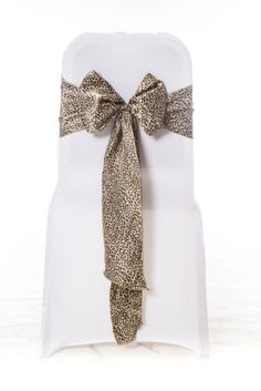 100 Black & Gold Leopard Animal Print Satin Chair Cover Sash Bow Themed Party | eBay