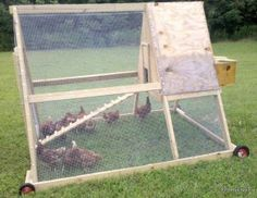 This chicken coop is mobile, compact, and looks like it would be pretty easy to build. I would probably want to paint it to give it a little pizazz.