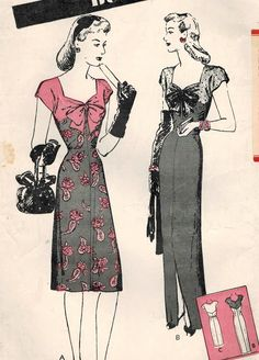 1940s Butterick 2912 FF Vintage Sewing Pattern door midvalecottage