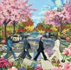 """Flower Power: ~ The Beatles """"Abbey Road. Les Beatles, Beatles Art, Beatles Poster, Abbey Road, Psychedelic Art, Photo Wall Collage, Collage Art, Flower Power, Hippy Art"""