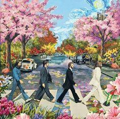 "Flower Power: ~ The Beatles ""Abbey Road. Les Beatles, Beatles Art, Beatles Poster, Abbey Road, Art Pop, Psychedelic Art, Hippy Art, Photo Wall Collage, Oui Oui"