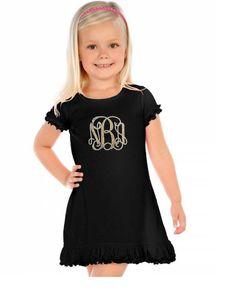 Gold Dress, Black and gold girls dress,Girls Gold dress, Girls Black dress, Monogram, Dress, Girls Monogram Dress, Monogrammed Dress, Dress